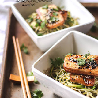 Ginger-spiked Soba Noodles With Green Pesto And Roasted Tofu.