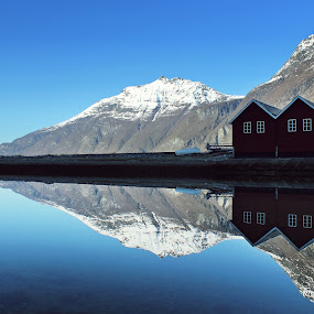 Twin triplets by Haavard Lien - Landscapes Waterscapes ( water, mirror, houses, mountains, reflection, waterscape, calmness, harbour, seascape, landscape, boat, norway )