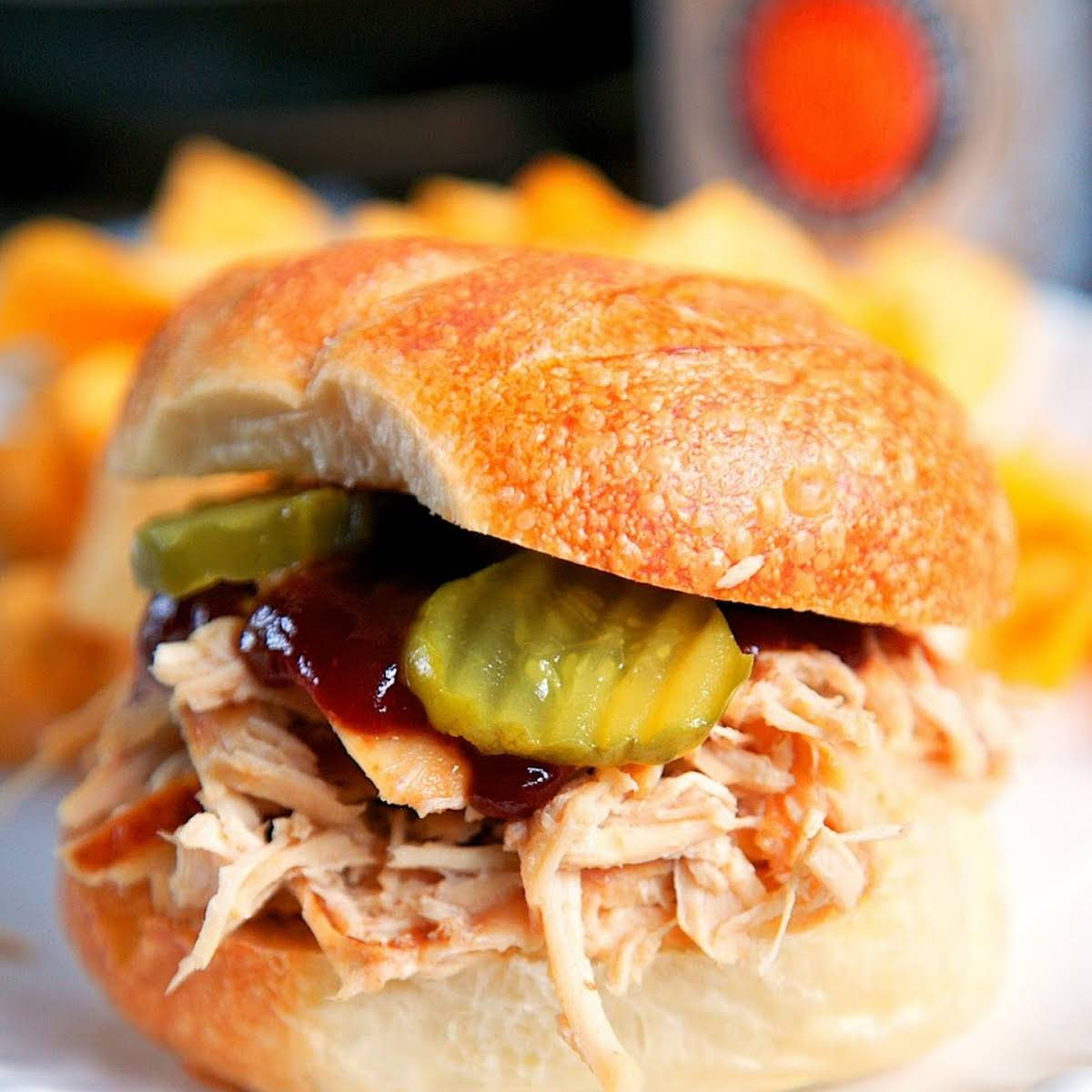 {Slow Cooker} Beer Braised Onion Soup Chicken Sandwiches