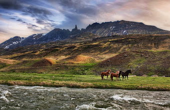 Photo: The Impossible Mountains - Iceland  The mountain is very spiky and narrow, and it's embedded in a very rough patch of peaks. So I did my best to capture it in context. There are great super-hairy horses everywhere, and four of them were playing on one side of the river. I set up… and waited….waited….waited…. for them to get in the right spot and then finally took a photo.  from Trey Ratcliff at www.stuckincustoms.com