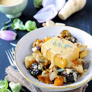 Pumpkin Sage Polenta with Roasted Vegetables.