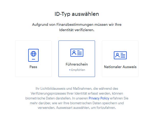 ID Verifizierung bei Coinbase