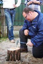Photo: Jan, als timmerman. Goed bezig!