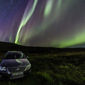 Aurora over car by Benny Høynes - Transportation Automobiles ( canon, car, stars, northern lights, norway )