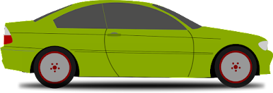 [Image is a side view of a small green car with a shadow beneath it.]