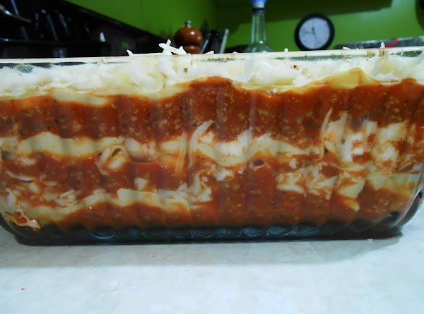 Spread sides and bottom of a deep 8x8 baking dish with non stick spray....