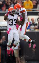 Photo: Trent Richardson celebrates with Josh Gordon after Gordon caught a touchdown pass. (Joshua Gunter, The Plain Dealer)