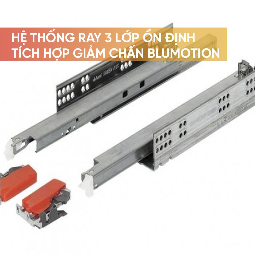 Hệ thống ray trượt 3 lớp ổn định, giảm chấn tích hợp sẵn trong ray