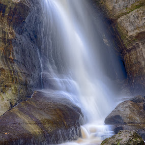 Miners Falls by Brad Bellisle - Landscapes Waterscapes ( michigan, waterfall, long exposure, water, flow,  )