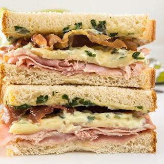 HAM, MELTED BRIE, CRISPY PROSCIUTTO SANDWICH with BASIL AIOLI Recipe