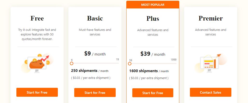 Pricing of TrackingMore