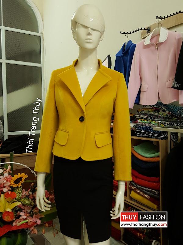 Áo vest dạ nữ công sở tông màu vàng cam mùa thu đông V480 thời trang thủy