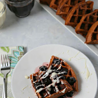 Red Velvet Waffles with Bourbon Cherry Syrup and Cream Cheese Drizzle