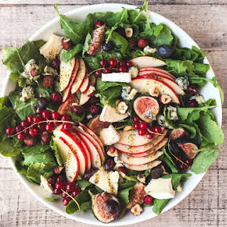 Kale and Fall Fruit Salad with Cider Poppy Seed Dressing.