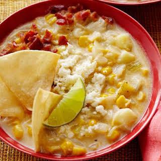 Corn Chowder with Chili Powder and Crumbled Cotija Cheese.