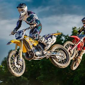 Motocross Duo by Lynn Wiezycki - Sports & Fitness Motorsports ( flying, motocross, dade city motocross, motorcycle, riders )