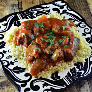 Slow Cooker Chicken & Italian Sausage Cacciatore.