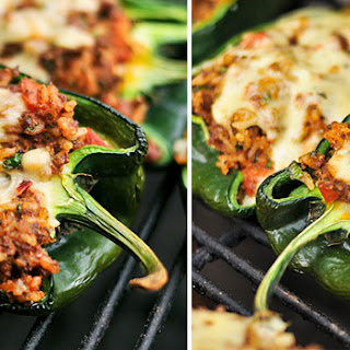 Grilled Peppers with Chicken and Cheese Stuffing