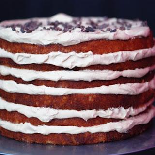 Coconut and Espresso Cream Layer Cake.