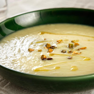 White Asparagus Soup with Pistachios