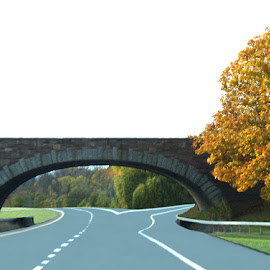 On The Road 2 by RMC Rochester - Transportation Roads ( random, fall, nature, road, bridge, abstract, landscape, colors, architecture )