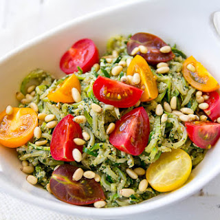 Zucchini Noodles with Spicy Kale & Walnut Pesto