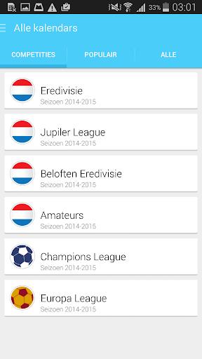 Eredivisie Agenda 2015 2016