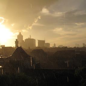 Landmarks - West Jakarta by Darnell Pantow - Travel Locations Landmarks ( pwclandmarks, raining, sunset, buildings, cloud, rain )
