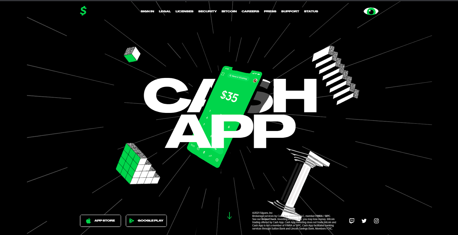 screenshot of Cash App website