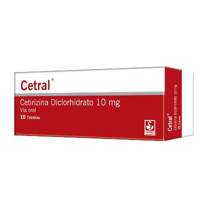 Cetirizina Cetral 10 mg x 10 Tabletas