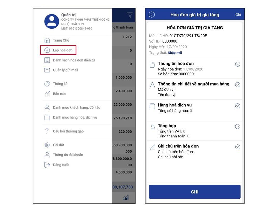 Chức năng lập hóa đơn trên App Mobile E-invoice.