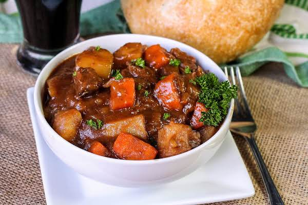 A Bowl Of Irish Guinness Beef Stew.