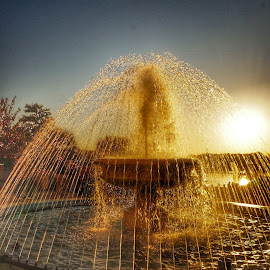 Sunset fountain by Debra Graham - City,  Street & Park  Fountains ( sunset fountain )