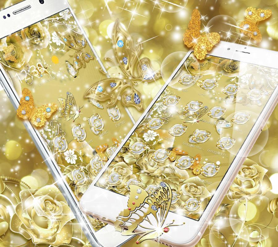 Screenshots of Gold Butterfly Diamond Theme for iPhone