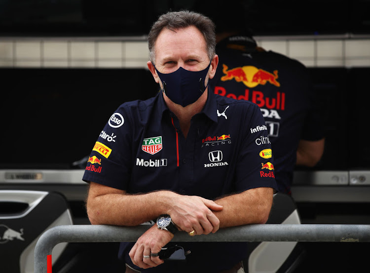 Red Bull Racing team principal Christian Horner looks on from the pitwall during F1 testing at Bahrain International Circuit on March 12 2021.