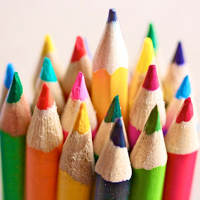 Colored Pencils by Jennifer Lamanca Kaufman - Artistic Objects Other Objects ( orange, red, purple, green.blue, grey, yellow, colored pencils )