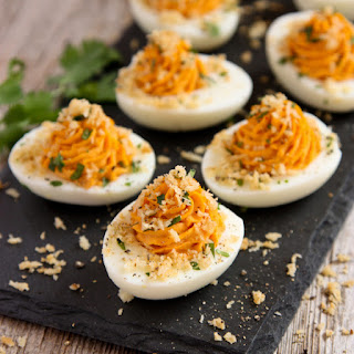 Sriracha Deviled Eggs with Garlic Toast Crumb Topping