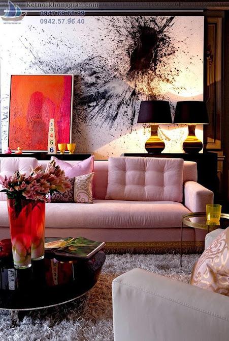 thiết kế phòng khách có nhiều màu sắc