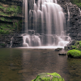 Scaleber Force by Darrell Evans - Nature Up Close Water ( outdoor, falls, scaleber force waterfall, yorkshire dales, rocks, grass, waterfall, water, flow, stone )
