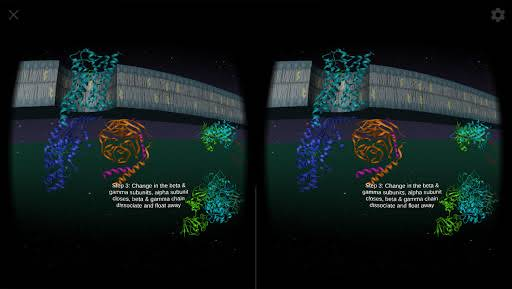 Cell 101 VR app screenshot displaying a G protein coupled receptor signaling cascade