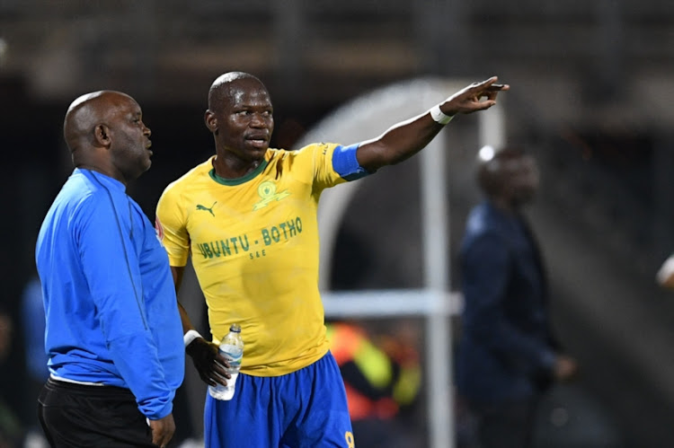Pitso Mosimane and Hlompho Kekana of Mamelodi Sundowns during the Absa Premiership match between Mamelodi Sundowns and Baroka FC at Lucas Moripe Stadium on December 11, 2018 in Pretoria, South Africa.