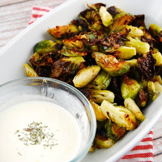 Roasted Brussel Sprouts with Lemon Garlic Dip.