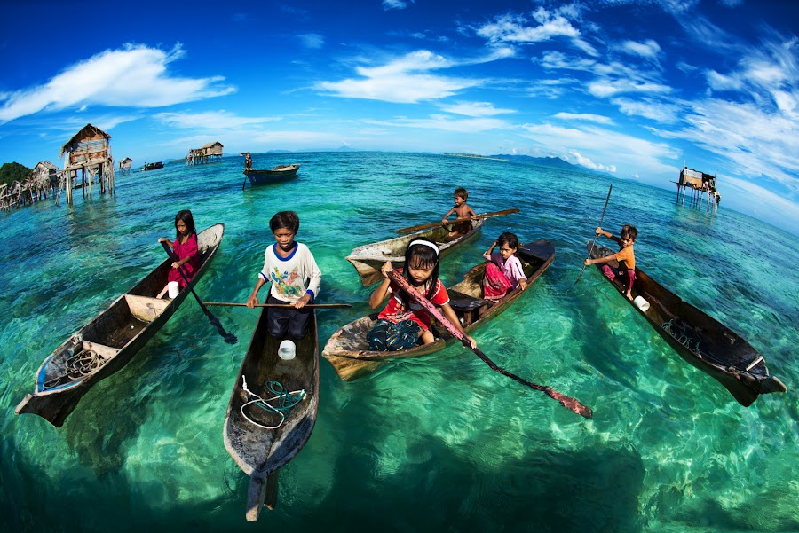 by Siew Jun Han - News & Events World Events ( sky, clean, native, blue, semporna, boats, sea, children, malaysia, ocean, kids, sabah )
