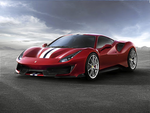 The 488 Pista without its camo showing its various aerodynamic enhancements. Picture: FERRARI