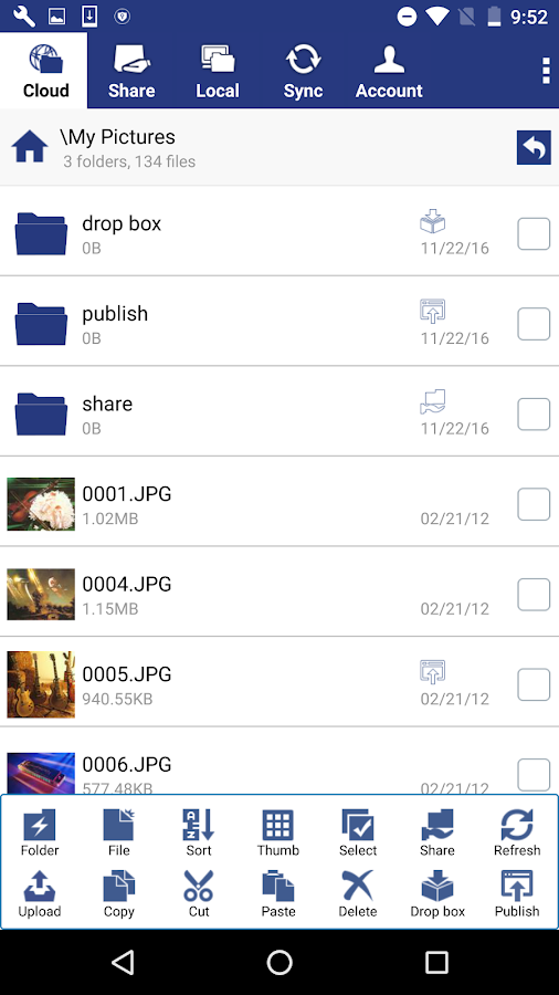Cloud File Manager- screenshot