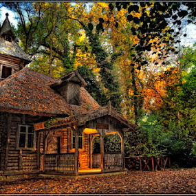 Grandma's house by Gabor Dvornik - Buildings & Architecture Other Exteriors ( old, wood, nature, color, hut, impression, cottage, landscape, light )