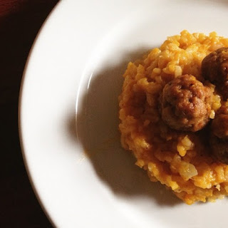 Pumpkin & Fennel Risotto with Pork Meatballs