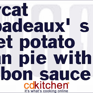 Copycat Pappadeaux's Sweet Potato Pecan Pie With Bourbon Sauce.