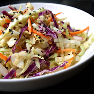 ASIAN SLAW SALAD + MISO GINGER DRESSING.