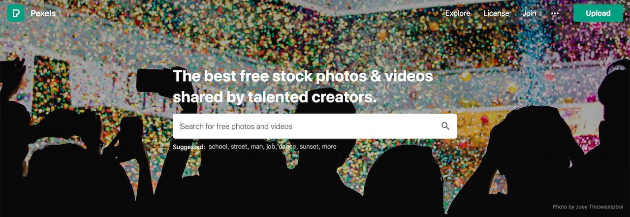 página de login do banco de imagens grátis Pexels